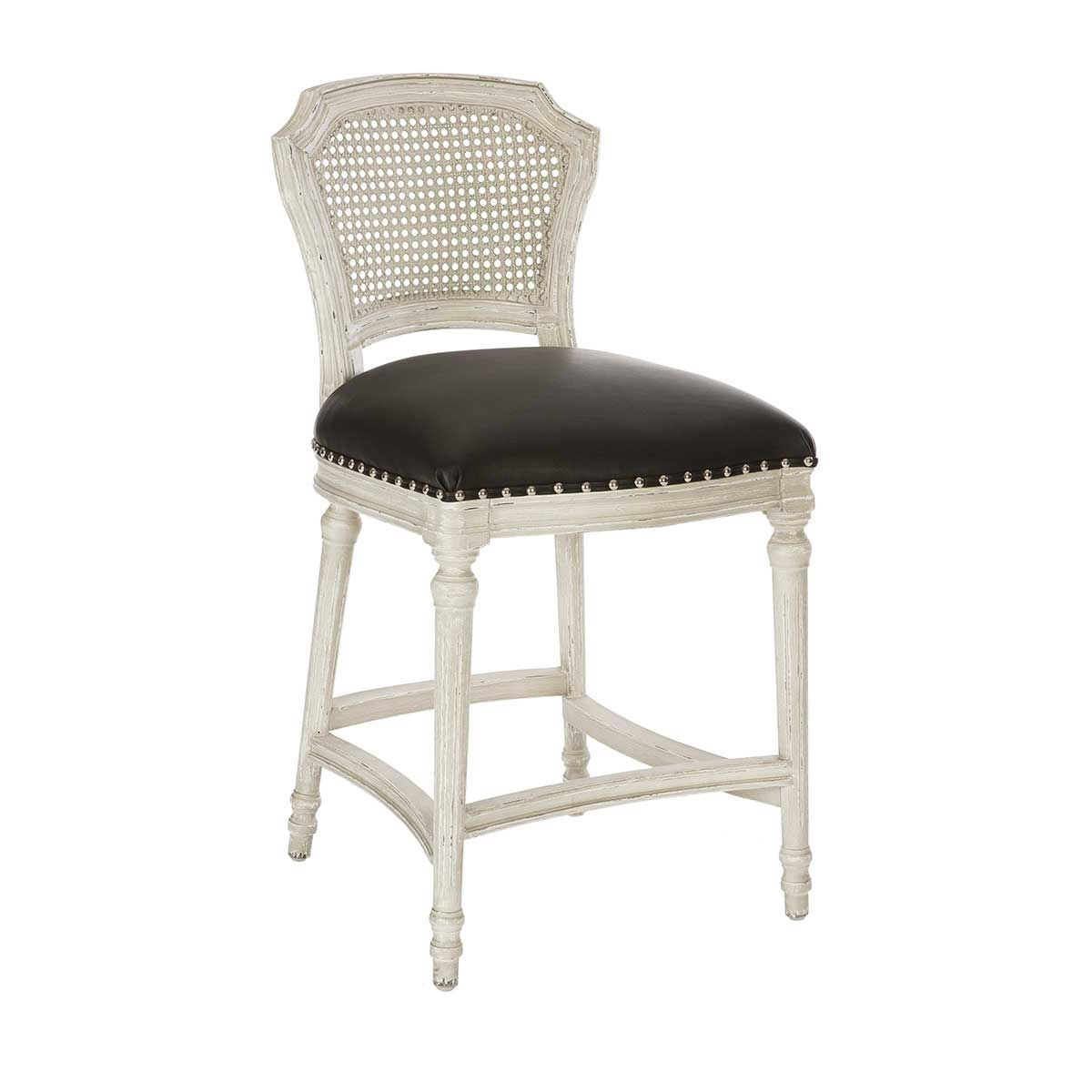 Aidan Gray Chelsea Counter Stool Cane Back Parker Gray Matte Black Leather Silver Nails Modo Home