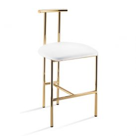 DW DWH 2 White Leather Stool in Gold Plated Brass
