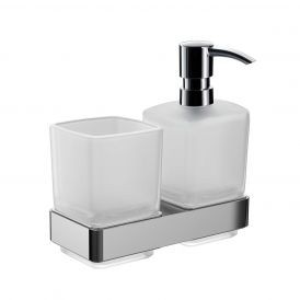 Loft 0531.001.00 Wall Mounted Toothbrush Holder / Soap Dispenser in Satin Crystal Glass