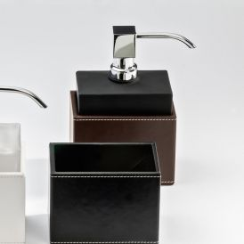 DW BROWNIE SSP Black Glass Soap Dispenser with Chrome Pump and Brown Holder