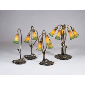 Amber/Green Pond Lily Accent Lamp