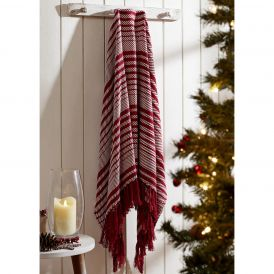 Whimsical Candy Cane Stripe Woven Decorative Holiday Throw