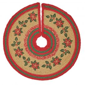 Poinsettia Jute Mini Tree Skirt 21""