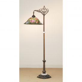 Tiffany Rosebush Bridge Arm Floor Lamp