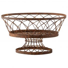 Large Iron Oval Basket, Set of 2