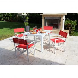 Del Mar 5 Piece Director Chair Dining Set (Rouge)