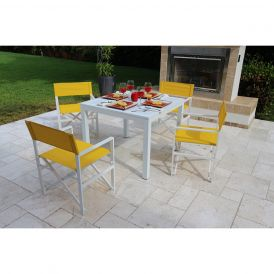Del Mar 5 Piece Director Chair Dining Set (Maize)