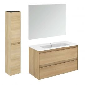 Ambra 100 Pack 2 Complete Vanity Unit with Column and Mirror
