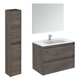 Ambra 80 Pack 2 Complete Vanity Unit with Column and Mirror