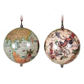 1551 The Earth and The Heavens GL032 2-Piece Globe Keepsake Ornaments
