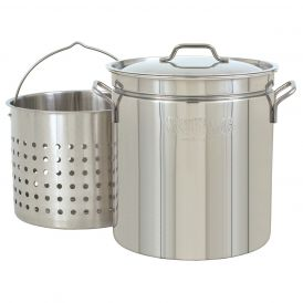 Stainless Steel 24 Quart Steam/Boil/Fry Stockpot with Lid and Basket