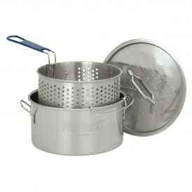 Stainless Steel 14 Quart Fry Pot with Lid and Cool Touch Handle