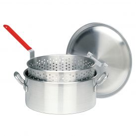 Aluminum 14 Quart Fry Pot with Basket and Domed Lid