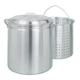 Aluminum 60 Quart Steam/Boil Stockpot with Lid and Basket