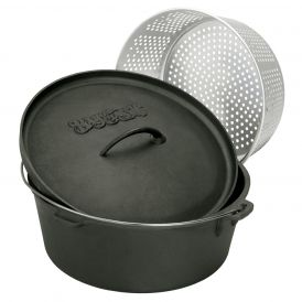 Cast Iron Seasoned Dutch Oven with Lid and Aluminum Basket