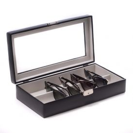Black Leather Multi Eyeglass Case