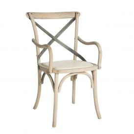 Kason Arm Chair in a Light Natural Wood Finish, Set of 2 Chairs
