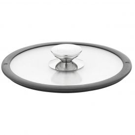 Tempered Glass Lid with Silicone Rim in Black