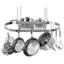 Oval Pot Rack in Stainless Steel
