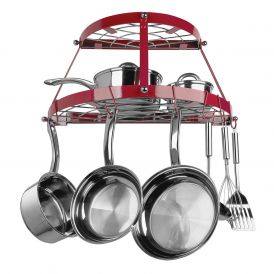 Two Shelf Wall Mounted Pot Rack in Red