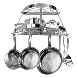 Two Shelf Wall Mounted Pot Rack in Stainless Steel
