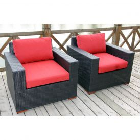 Bali Outdoor Deep-Seating Club Chairs, Set of Two