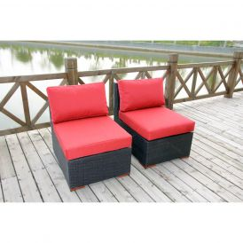 Bali Outdoor Armless/Slipper Chair, Set of Two