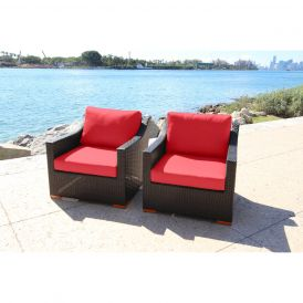 Ellington Outdoor Deep-Seating Club Chairs, Set of Two
