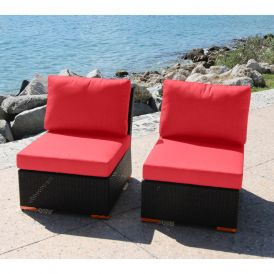 Ellington Outdoor Armless/Slipper Chair, Set of Two
