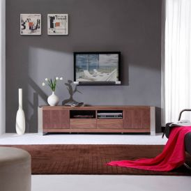Composer TV Stand in Light Walnut and Polished Stainless Steel