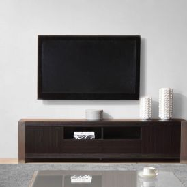Composer TV Stand in Grey Stained Ebony Veneer and Brushed Stainless Steel