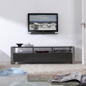 Stylist TV Stand in Grey High Gloss and Brushed Stainless Steel