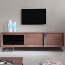 Entertainer TV Stand in Light Walnut & Stainless Steel