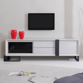 Entertainer TV Stand in Cream High-Gloss & Black Steel