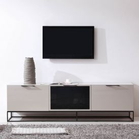 Animator TV Stand in Cream High-Gloss & Black Steel