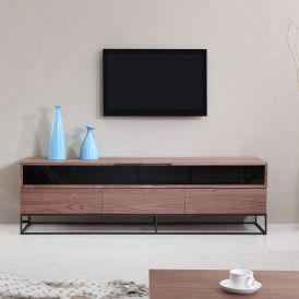 Publicist TV Stand in Light Walnut & Black Steel