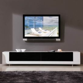 Editor TV Stand in White High-Gloss, Black IR Glass, Stainless Steel