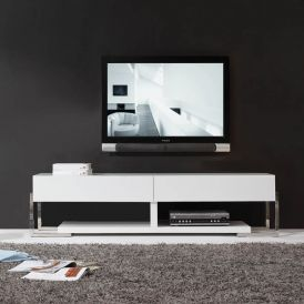 Agent TV Stand in High Gloss White with White Glass Top