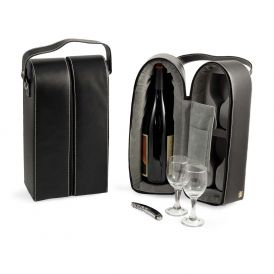 Black Leather Wine Caddy
