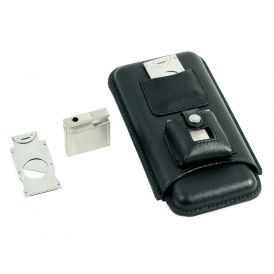Black Three Cigar Holder with Stainless Steel Cutter and Lighter