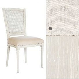 Ethan Dining Chair Cane Back, Parker Gray Finish/Dark Linen Fabric/Rustic Nails