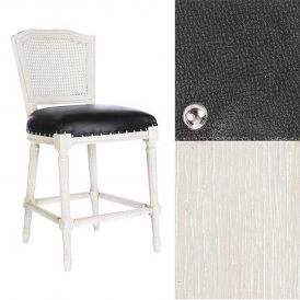 Ethan Counter Stool Cane Back Parker Gray/Matte Black Leather/Silver Nails