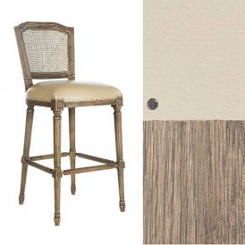 Ethan Cane Back Bar Stool Lamont Oak/Beige Leather/Rustic