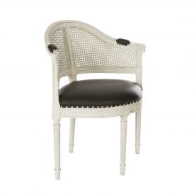Blue Occasional Chair Cane Back Parker Gray/Matte Black Leather/Silver Nails