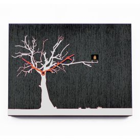 CuCuRuKu M1766 Black Wenge/White Tree Wall Clock