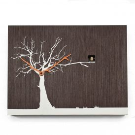 CuCuRuKu M1767 Natural Wenge/White Tree Wall Clock