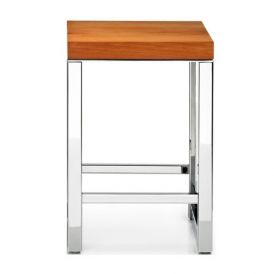 DW WO HO Wood Stool in Polished Stainless Steel