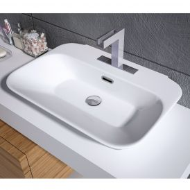 WS Bath Collections Edge 4465 Wall Mount / Vessel Ceramic White Bathroom Sink 25.4""