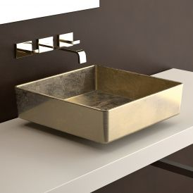 "Four Lux Vessel Bathroom Sink in Gold Leaf 3D 15.7"" x 15.7"""