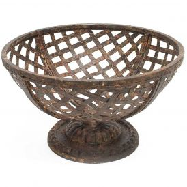 Metal Basket on Pedestal, Set of 2